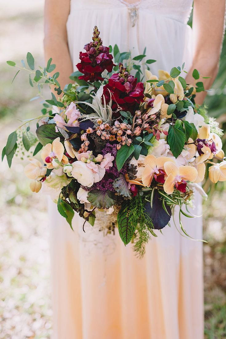 Ethereal Forest Themed Stock & Orchid Bridal Bouquet - The Celebration Society