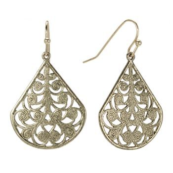 earrings kohls 1928 jet filigree teardrop earrings s black 8730