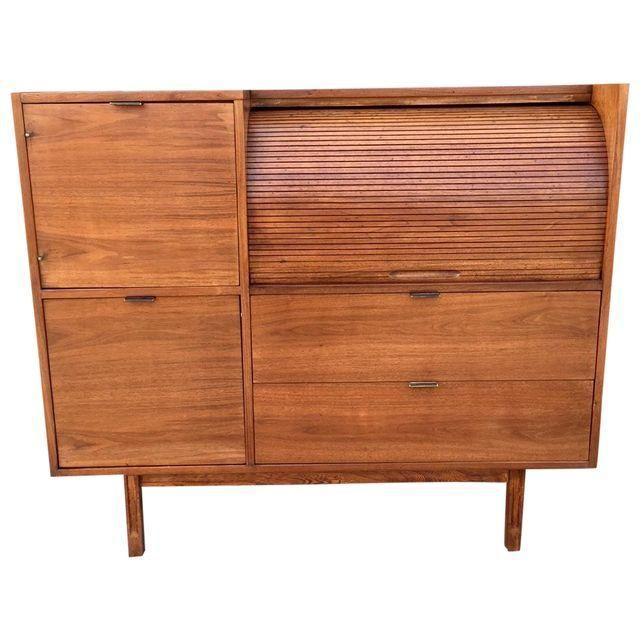 Image of Hooker Mid-Century Walnut Secretary Desk