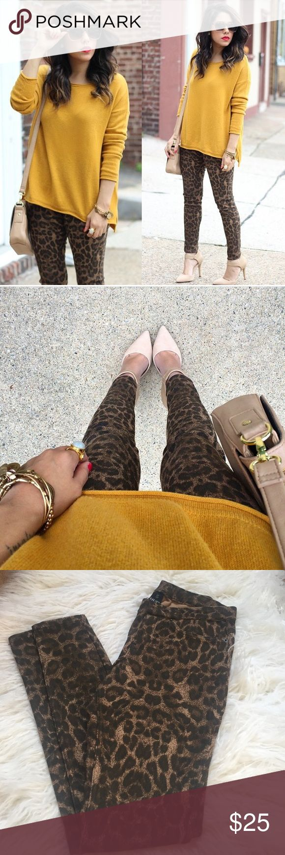 Leopard Print Leggings Worn once. Fun leopard print leggings. Stretchy. Faux front pockets. Back pockets. HUE Pants Leggings