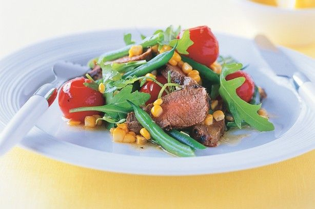 This colourful lamb and corn salad is a feast for all the senses!