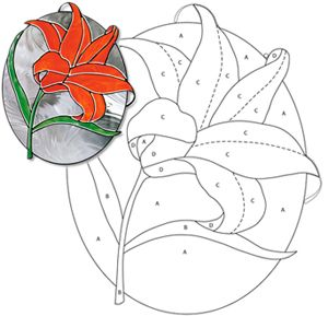 Easter Lily stencil | Chantal's Stained Glass Patterns ::: Robin and Lily-of-the-Valley