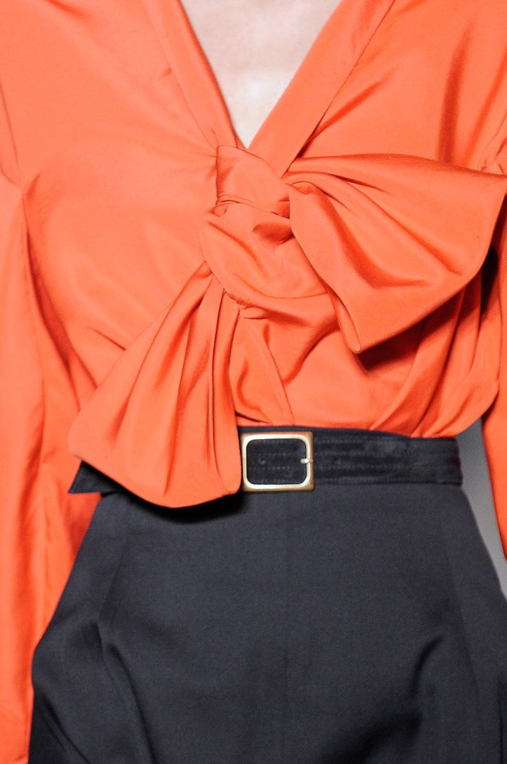 Yves St. Laurent | coral bow blouse...details!...looks good with charcoal grey