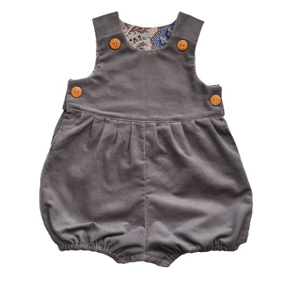 Grey Corduroy Baby Romper Suit For Boys and Girls by KhuduKids