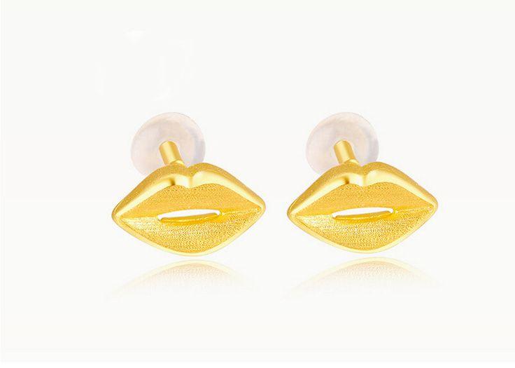 Authentic 24k Yellow Gold Earrings Sexy Lips Stud Earrings 1.31g