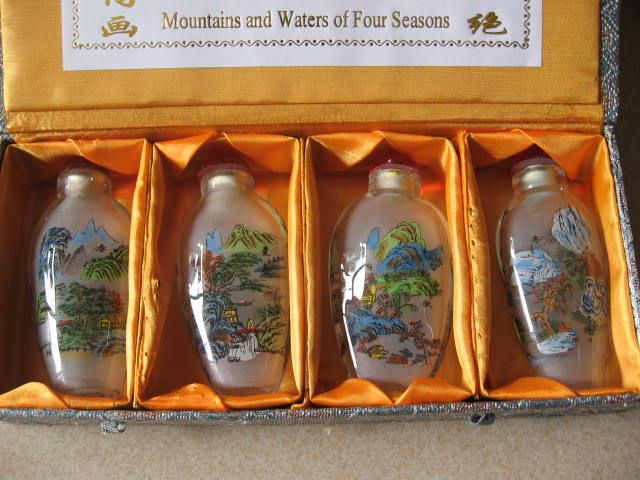 This snuff bottle is about mountains. Customization is available.