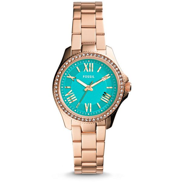 Fossil Cecile Turquoise Dial Rose Gold-tone Ladies Watch (320 SAR) ❤ liked on Polyvore featuring jewelry, watches, fossil watches, roman numeral watches, roman numeral bracelet and womens jewellery