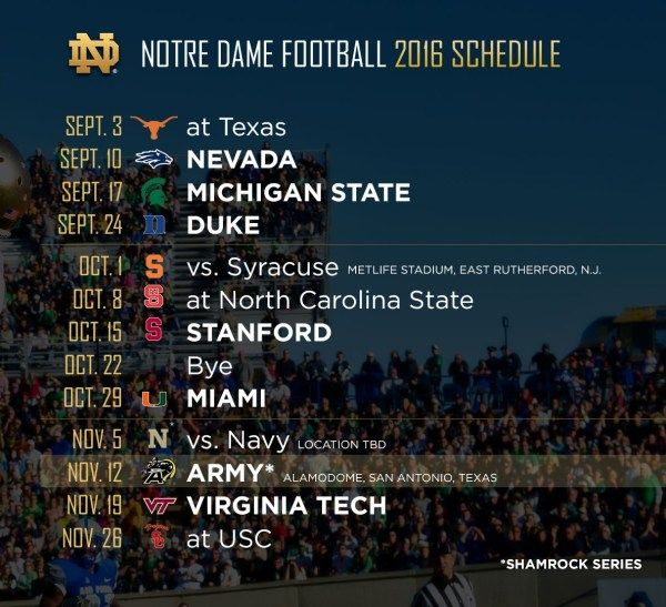 Notre Dame football 2016 schedule