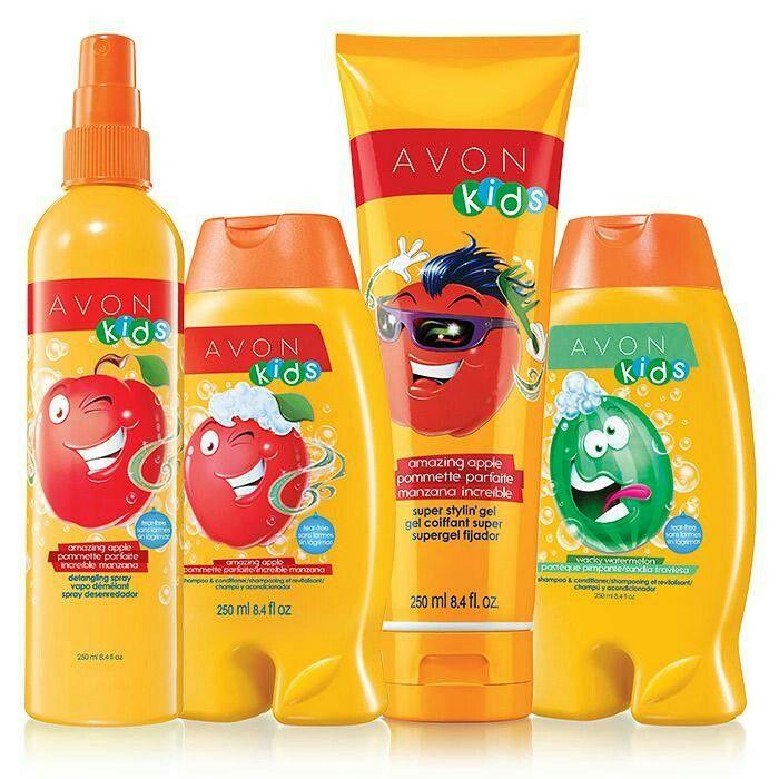 Avon kids ■ This 4-piece set includes: AMAZING APPLE DETANGLING SPRAY, 8.4 fl.oz., WACKY WATERMELON SHAMPOO & CONDITIONER, 8.4 fl.oz., AMAZING APPLE SHAMPOO & CONDITIONER, 8.4 fl.oz., AMAZING APPLE SUPER STYLIN` GEL, 8.4 fl.oz. A $20 value for only $9 99 ~ Visit my online store @ www.youravon.com/amartinez8866