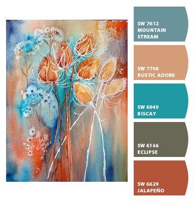 color palette  blauw bruin groen oranje