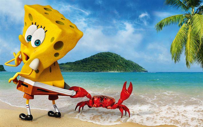 Hämta bilder Svampbob, beach, krabba, havet, Svampbob Fyrkant