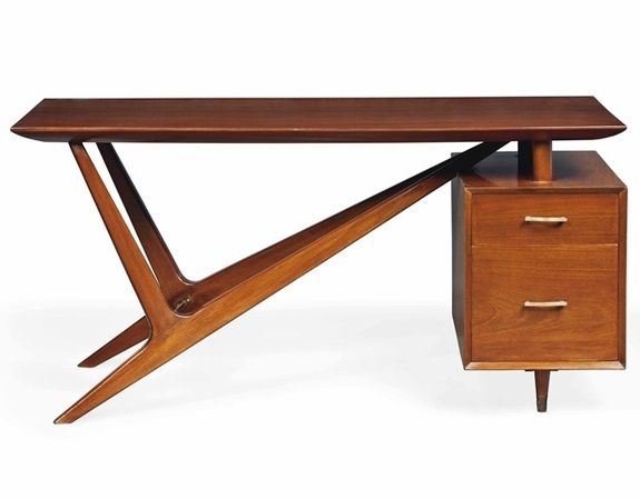 Italian Mahogany Desk, C.1950s
