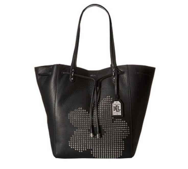 Ralph Lauren Handbag Leather Purse XL Oxford Studded Flower Tote New 695 00