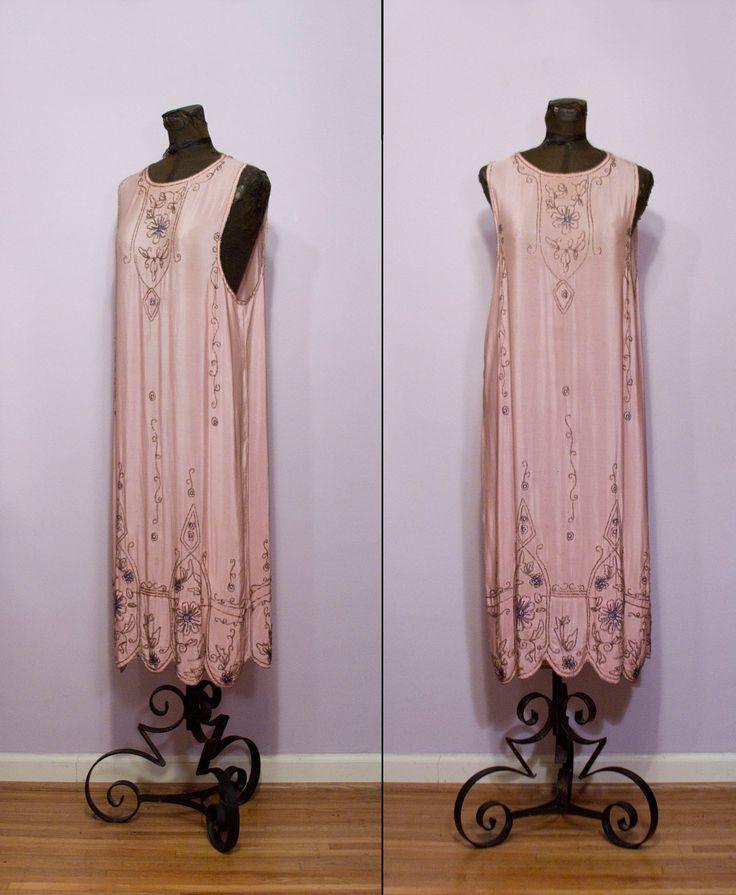 1920's Pink Silk Beaded Flapper Dress