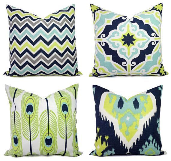 Two Decorative Pillow Covers Green Blue by CastawayCoveDecor