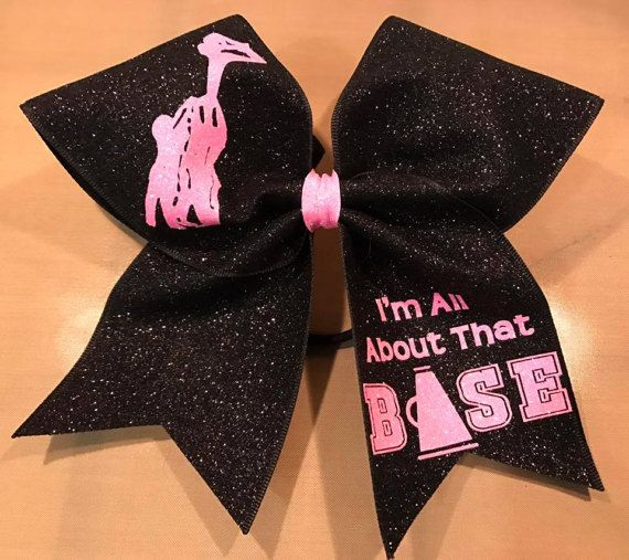 All About That Base Cheer Bow. Custom Glitter Cheer Bow. #stunt base cheerleading hair bow. #cheerleading #ad