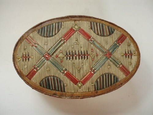 Cape Breton Mikmaq (Nova Scotia), Box, porcupine quills/birch bark, c. 1890