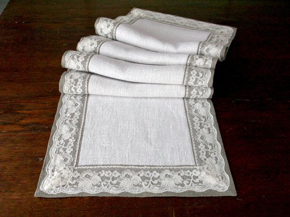 Cream lace table runner Long linen table cover by MadebyInese