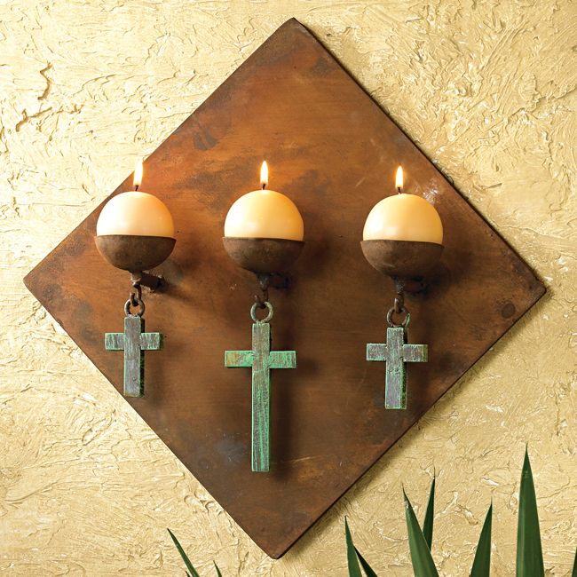 very pretty...Wall Decor, Decor Ideas, Turquoise Crosses, Diamond Candles, Candle Holders, Candles Holders, Diamonds Candles, Westerns Decor