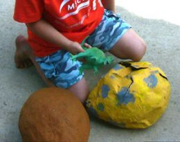 "Make paper mache egg ""goodie bags"" that the kids can break open. Or as a dinosaur theme party game?"