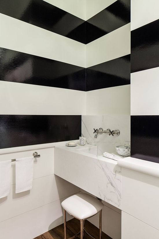 High gloss paint black white stripes powder room very for Black and white room painting ideas