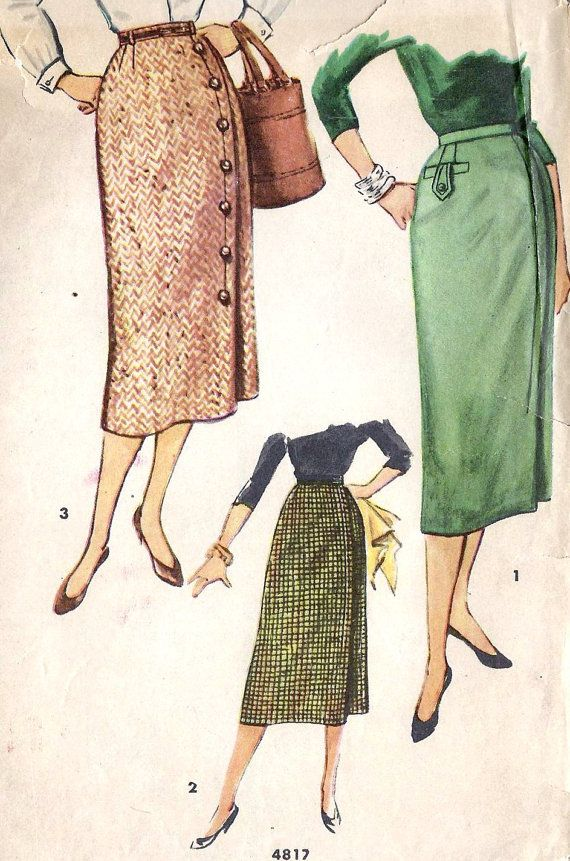 """1950s Misses 1 yard Skirt Vintage Sewing Pattern, Office Fashion, Simplicity 4817 Waist 24""""  hips 33"""". $10.00, via Etsy."""