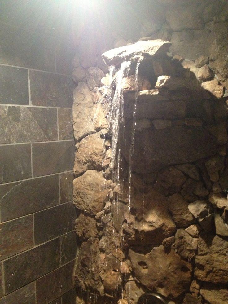 Waterfall Shower Slate And Limestone Basement