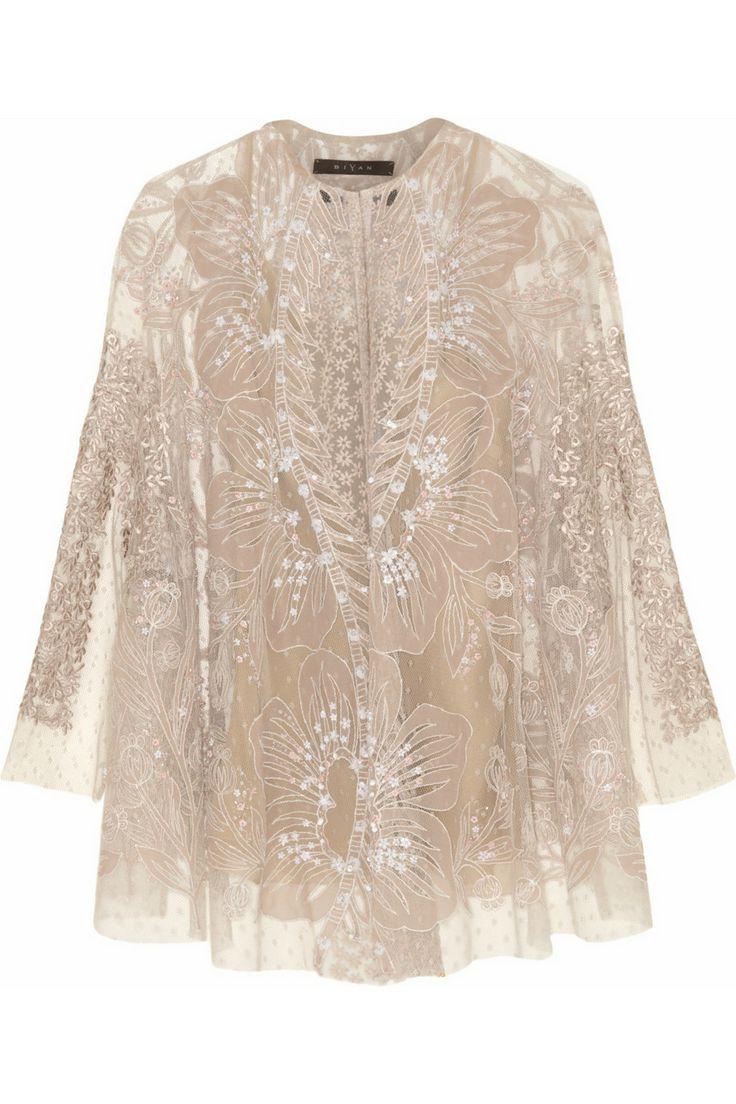 Biyan|Kalla embellished tulle cape jacket|NET-A-PORTER.COM