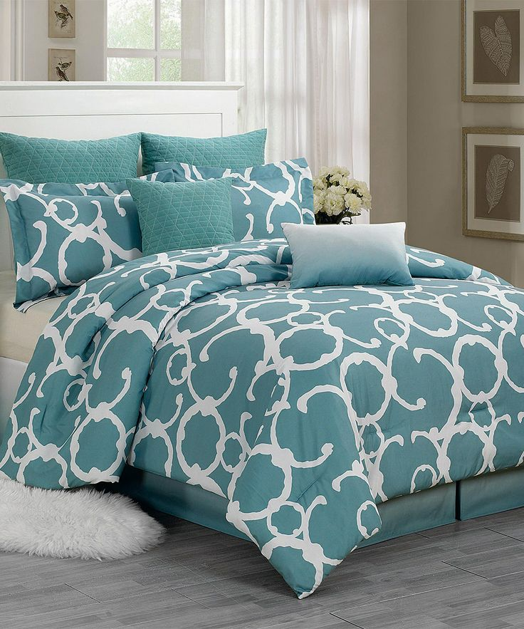 Love This Dusty Blue Rhys Quilted Overfilled Comforter Set