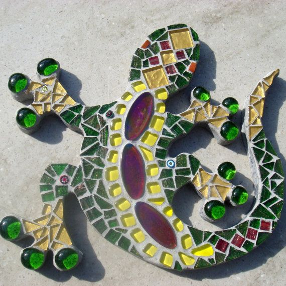 Mosaic Gecko Lizard Garden Yard Ornament by FunkyMosaicsUK on Etsy