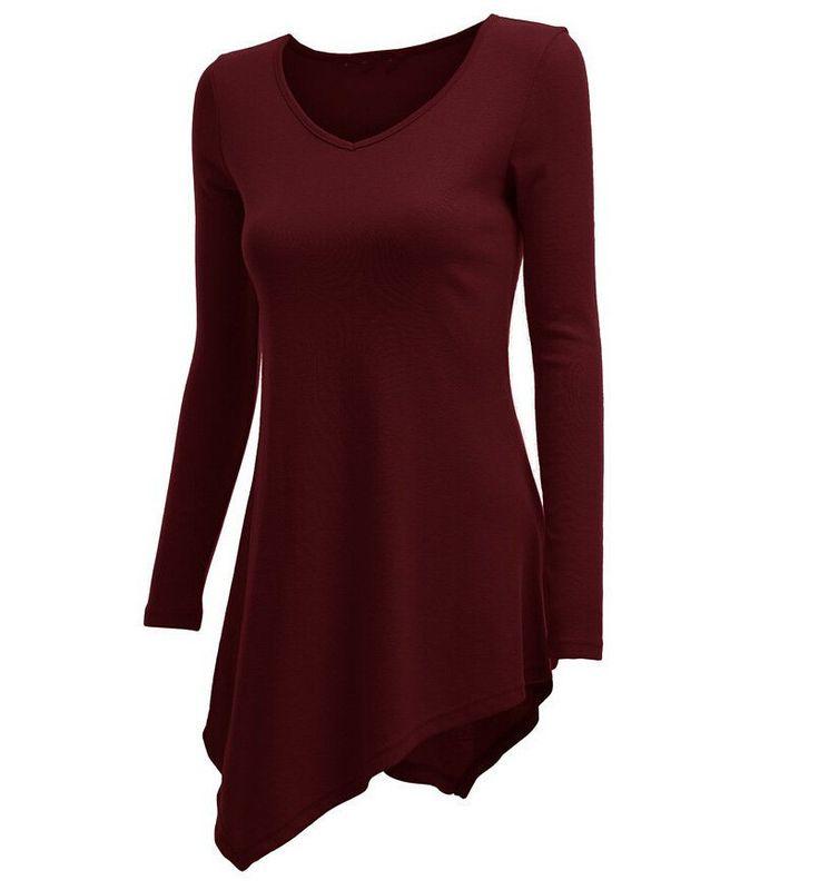 Irregular Scoop Long Sleeves Slim Pure Color Blouse