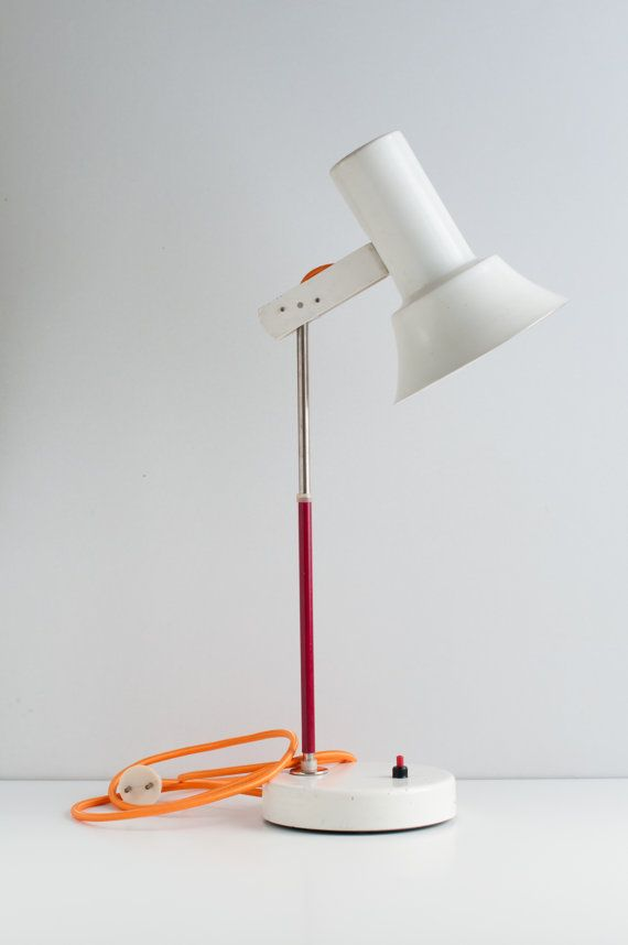 Vintage table lamp Baige retro lamp by VintageBeautyArchive