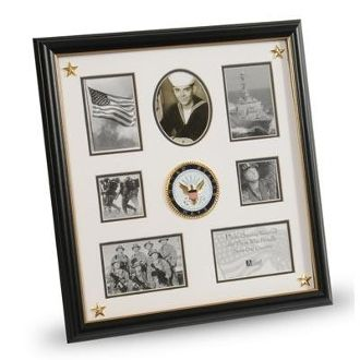 military photo us navy medallion 7 picture collage frame with stars
