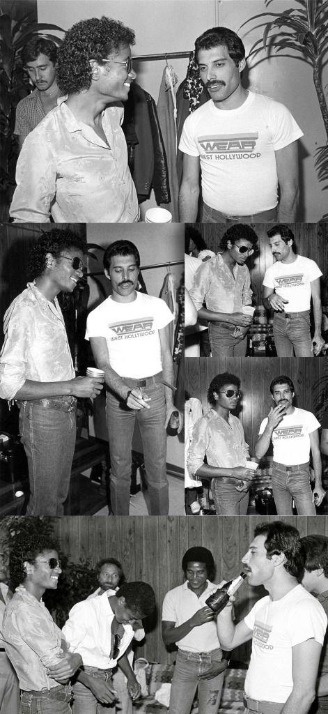 michael jackson and freddie mercury backstage at the los angeles forum 1980