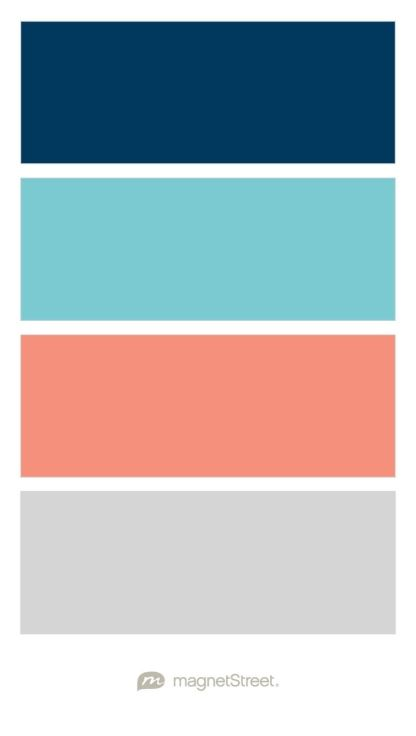 Navy, Turquoise, Coral, and Silver Wedding Color Palette - custom color palette created at MagnetStreet.com