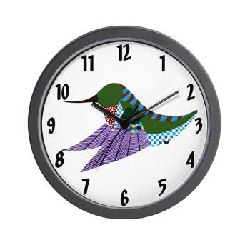 Ruby Throated Hummingbird Wall Clock from online store: AG Painted Brush T-Shirts. #cafepress #hummingbird #clock