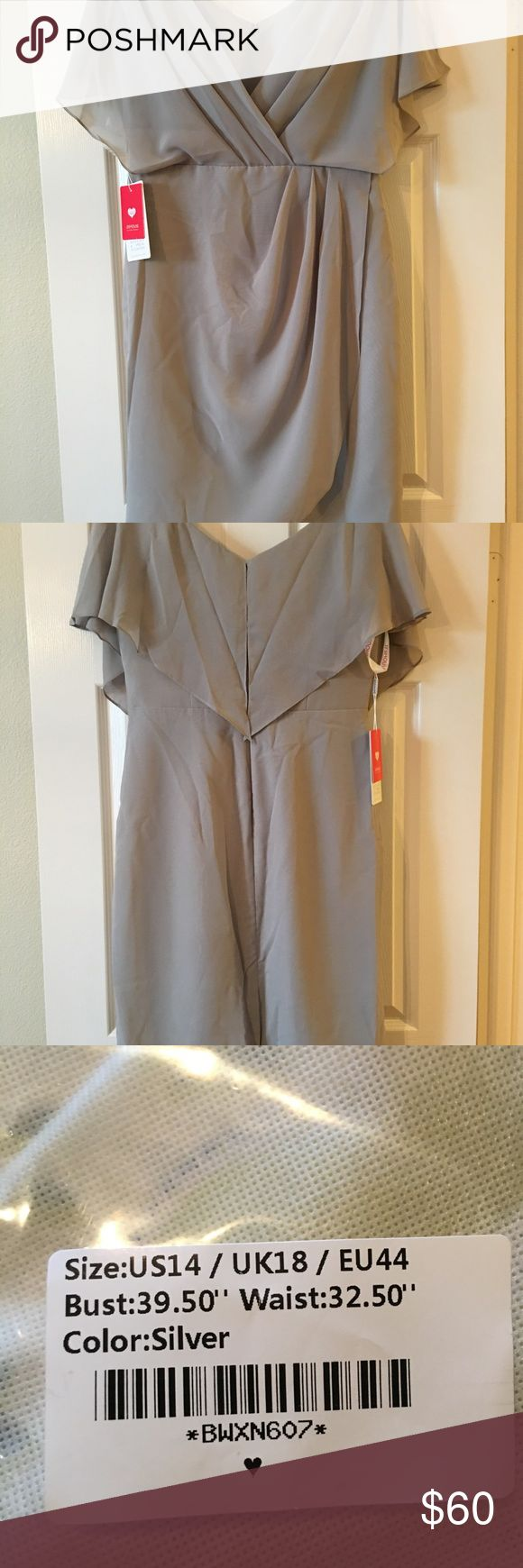Silver brand new special occasion dress Silver chiffon special occasion dress. Brand new with rags. Size 14, but runs small. V neck, knee length. Very pretty. JJ's House Dresses Wedding