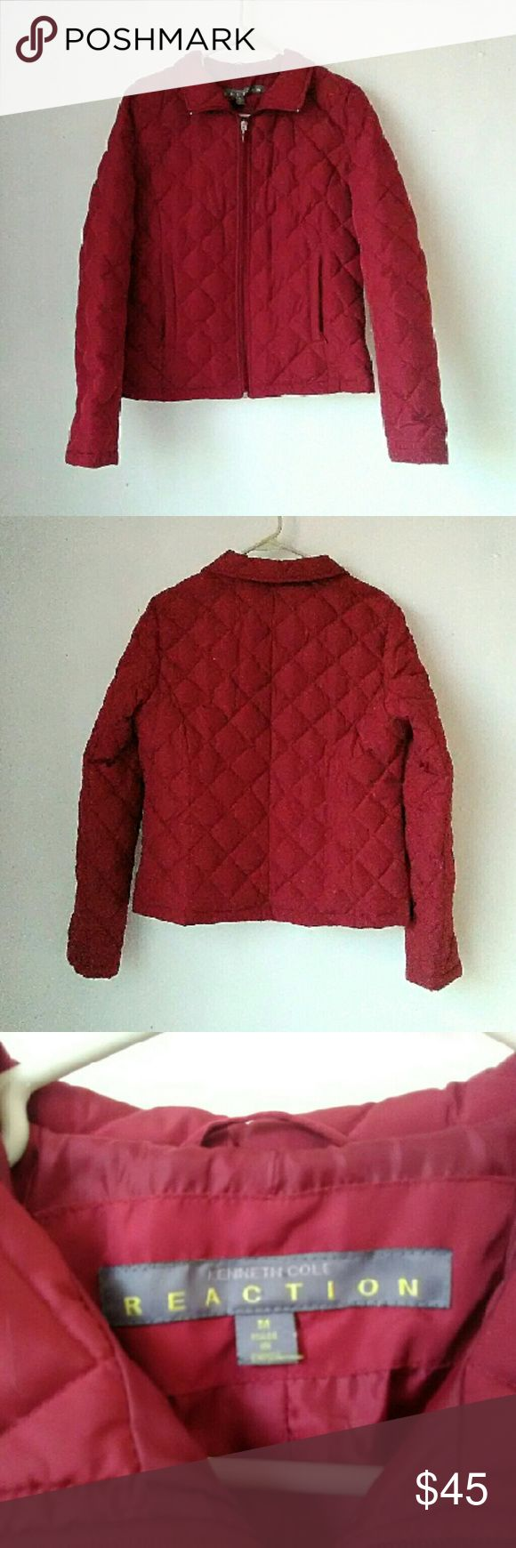 Kenneth Cole Red Quilted Jacket Zip front jacket with zipper front and warm lining. Shell and lining are poly. Filler is Down Clusters and Waterfowl Feathers. Excellent like new condition. Offers are welcome! Kenneth Cole Reaction Jackets & Coats