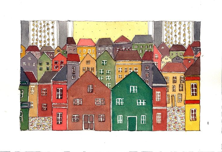 Mediterranean Town In The Sun, Kitchen Art, Cityscape Watercolor Painting , Mixed Media Painting. - pinned by pin4etsy.com