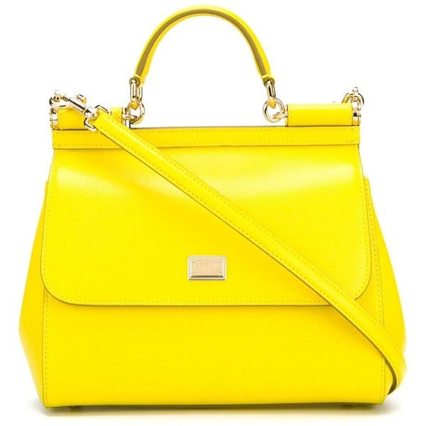 Dolce & Gabbana 'Sicily' tote featuring polyvore, women's fashion, bags, handbags, tote bags, purses, totes, leather hand bags, genuine leather tote, hand bags, man bag and yellow leather purse