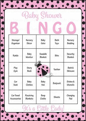 Ladybug Baby Bingo Cards   Printable Download   Prefilled   Baby Shower  Game For Girl   Pink Black Polka Dots   B10003