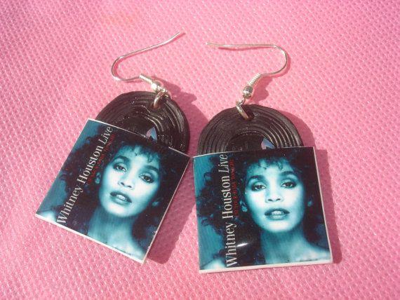 whitney houston vinyl record miniature earrings by andreachalari, $12.00