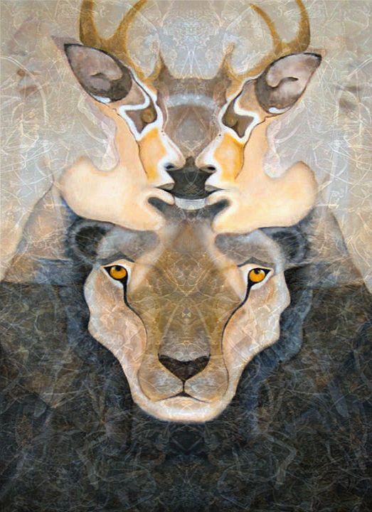 """Visionary Art by Kali Lunar Diamond https://www.etsy.com/au/people/kalilunardiamond """"Polarity Kiss"""" symbolises the unifying/kissing of inner polarities. Particularly the polarity of softness (the deer) & strength (the lioness) & of masculine & feminine.... inviting the merging, balancing, harmonising & unifying the polarities that lay within, to use the diversity to kiss rather then to battle"""