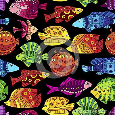 Seamless pattern with colorful tropical fish