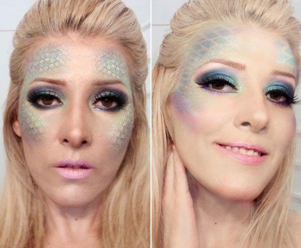 Maquiagem de sereia com escamas por Renata Davies