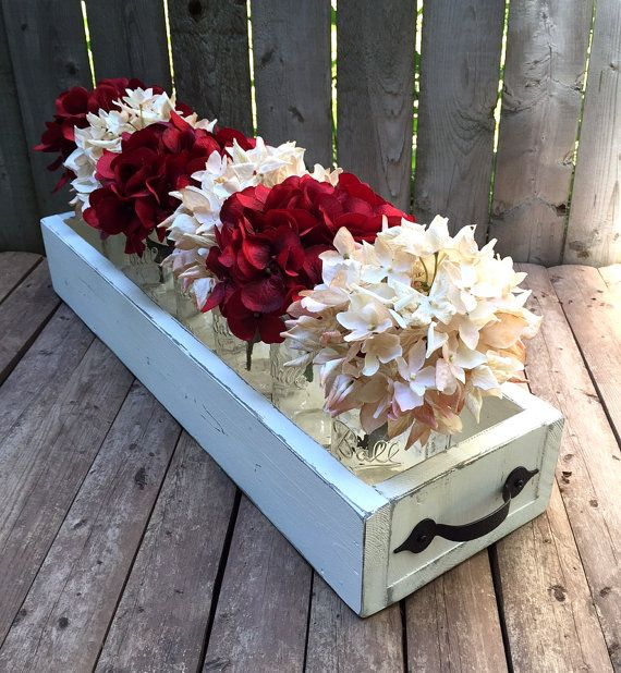 Rustic Reclaimed Wood Box Centerpiece Metal Handles Hand