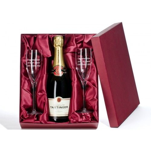 Luxury Taittinger Champagne and Engraved Flutes  from www.personalisedweddinggifts.co.uk :: ONLY £89.95