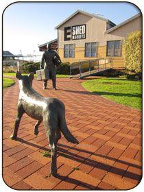 Statue of Man & Dog outside EShed Markets, Fremantle