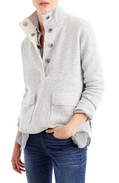 J.Crew Snap Placket Pullover Sweater available at #Nordstrom