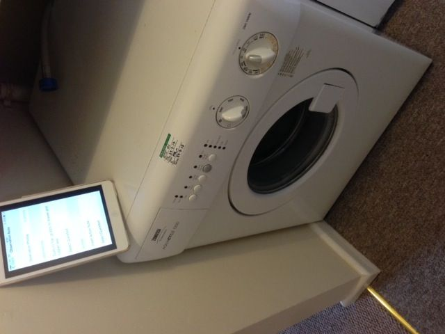 Possibly the smallest washing machine I've ever seen! The tablet is a mini iPAD